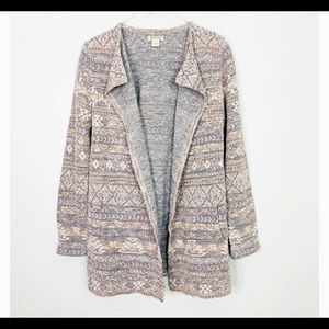 LUCKY BRAND AZTEC TRIBAL PRINT CARDIGAN DUSTER